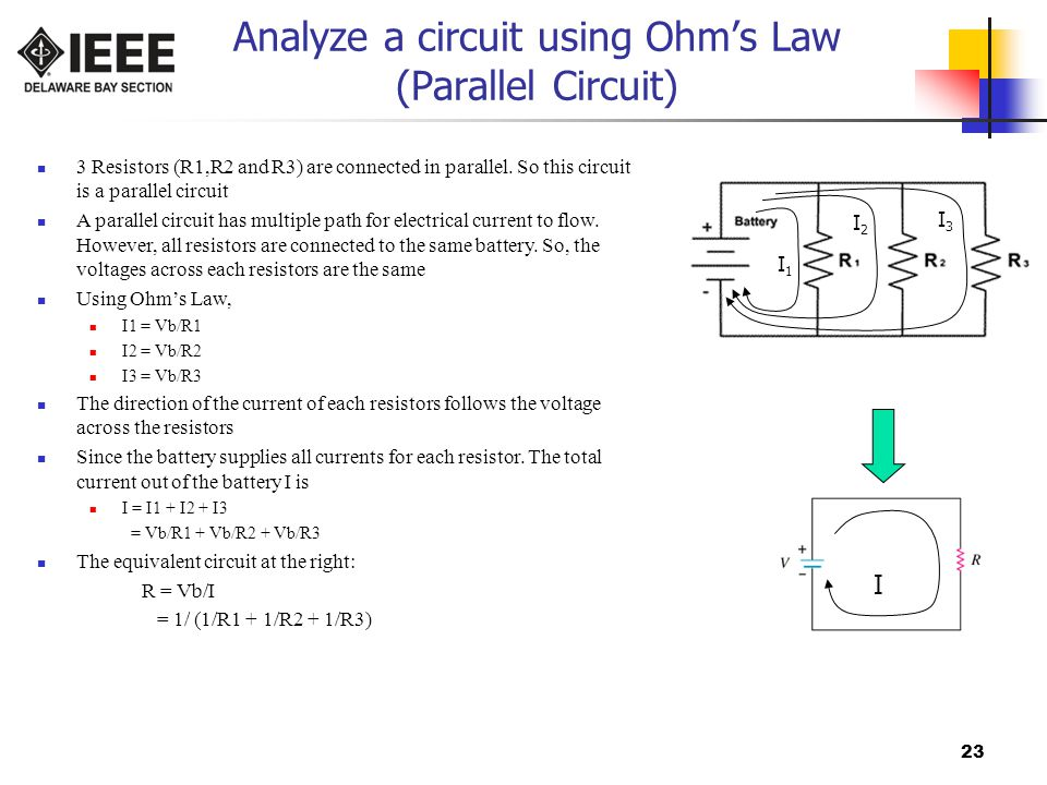 Analyze a circuit using Ohm's Law (Parallel Circuit)