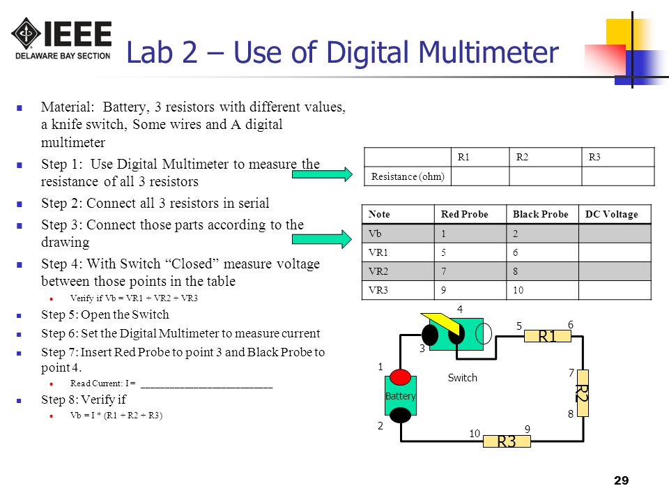 Lab 2 – Use of Digital Multimeter