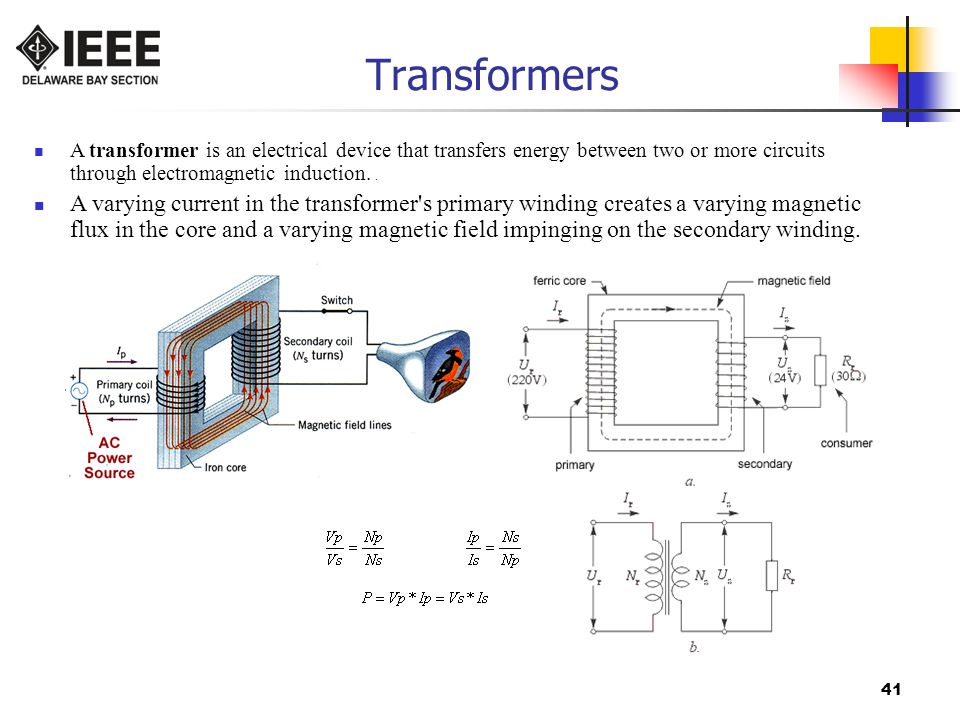 Transformers A transformer is an electrical device that transfers energy between two or more circuits through electromagnetic induction. .