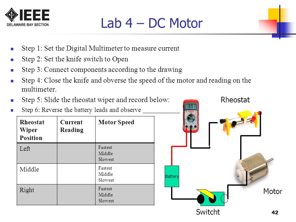 Lab 4 – DC Motor Step 1: Set the Digital Multimeter to measure current