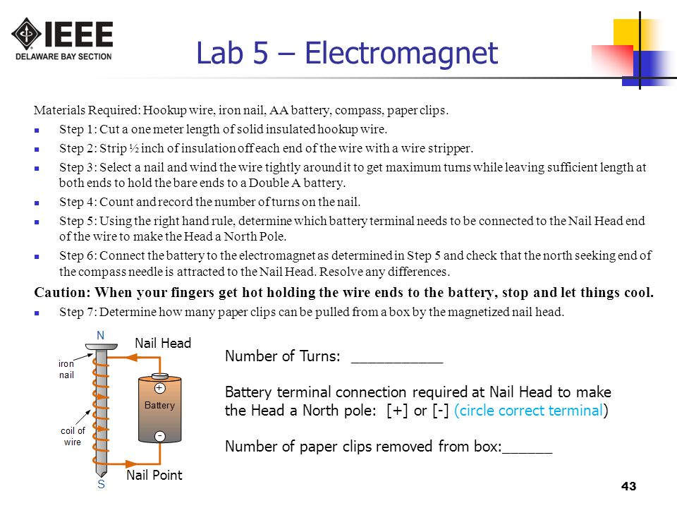 Lab 5 – Electromagnet Materials Required: Hookup wire, iron nail, AA battery, compass, paper clips.