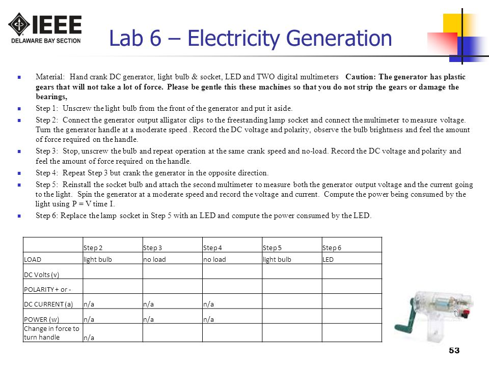 Lab 6 – Electricity Generation