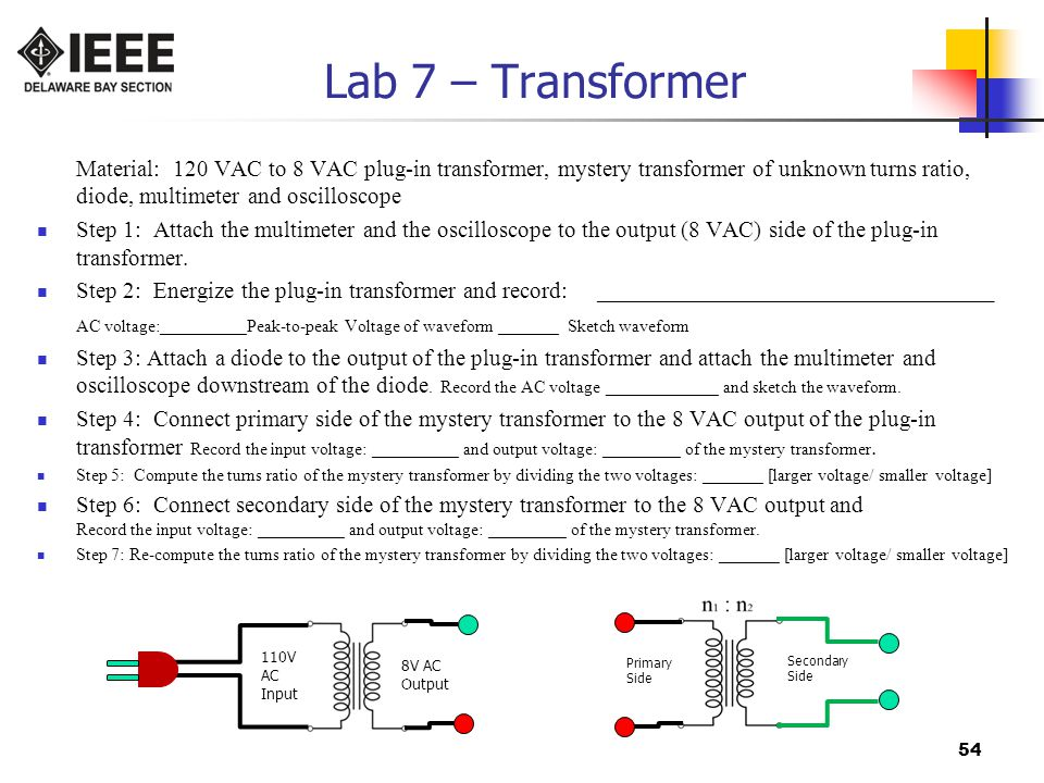 Lab 7 – Transformer Material: 120 VAC to 8 VAC plug-in transformer, mystery transformer of unknown turns ratio, diode, multimeter and oscilloscope.