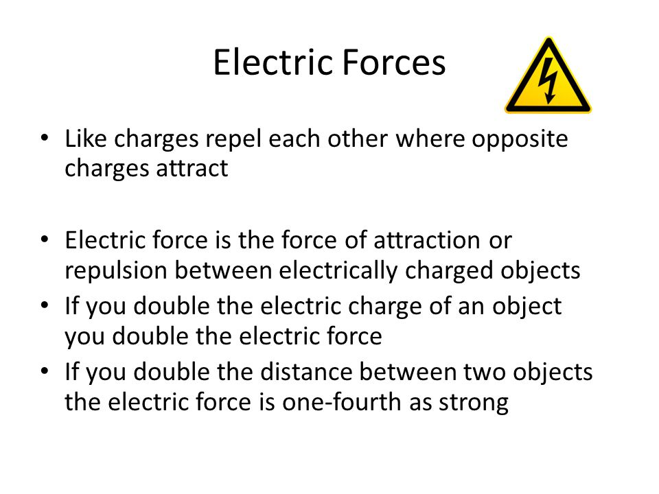 Electric Forces Like charges repel each other where opposite charges attract.