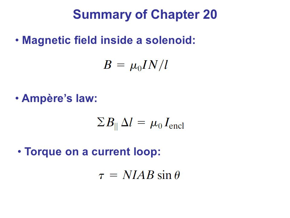 Summary of Chapter 20 Magnetic field inside a solenoid: Ampère's law: