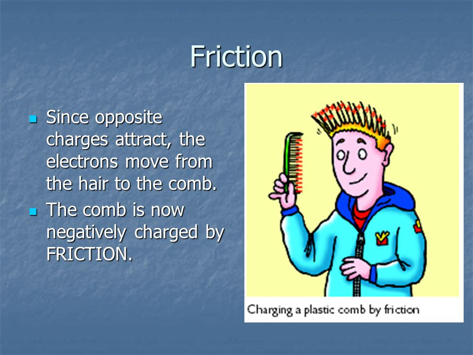 Friction Since opposite charges attract, the electrons move from the hair to the comb.