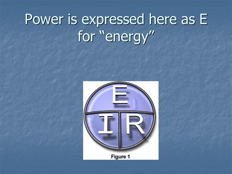 Power is expressed here as E for energy