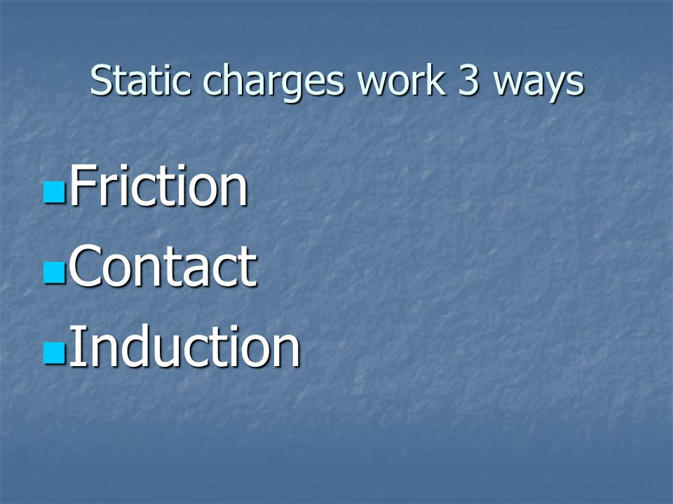 Static charges work 3 ways