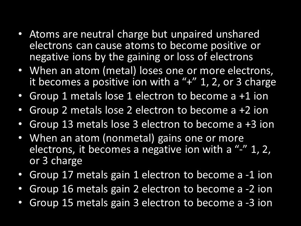 Atoms are neutral charge but unpaired unshared electrons can cause atoms to become positive or negative ions by the gaining or loss of electrons
