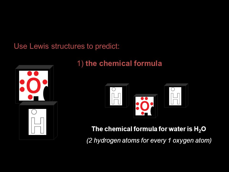 The chemical formula for water is H2O