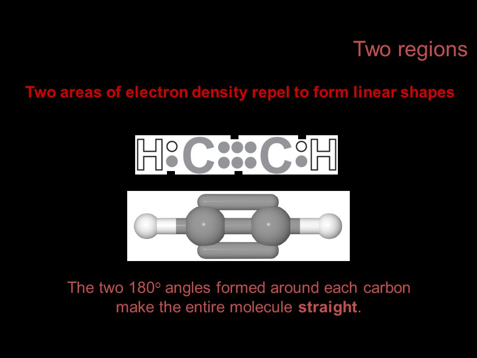Two areas of electron density repel to form linear shapes