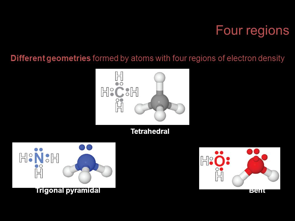 Four regions Different geometries formed by atoms with four regions of electron density. Tetrahedral.