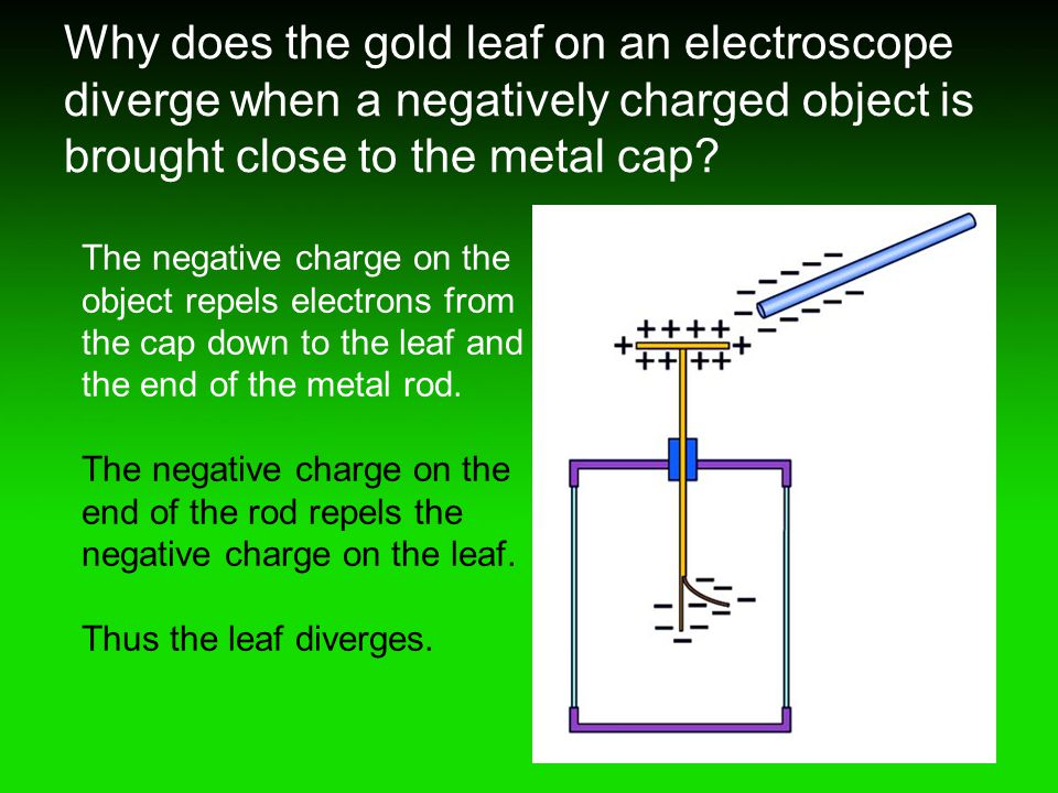 Why does the gold leaf on an electroscope diverge when a negatively charged object is brought close to the metal cap