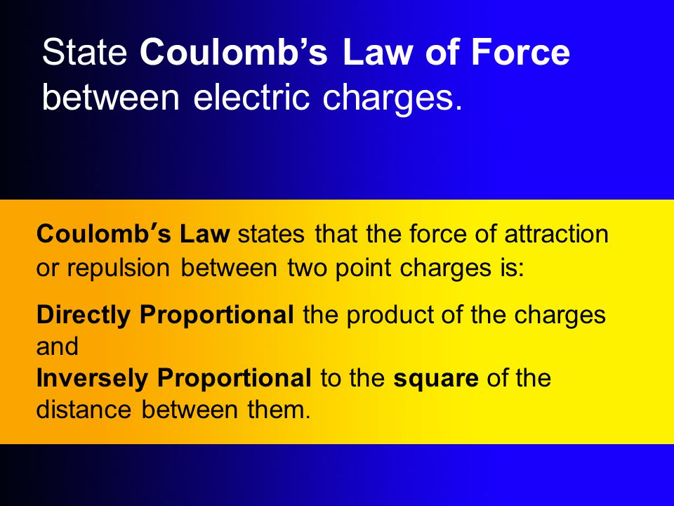 State Coulomb's Law of Force between electric charges.
