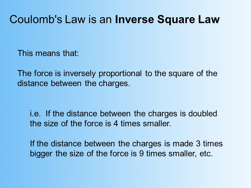 Coulomb s Law is an Inverse Square Law