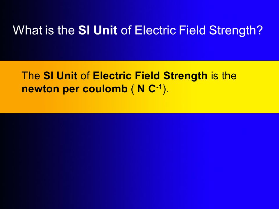 What is the SI Unit of Electric Field Strength