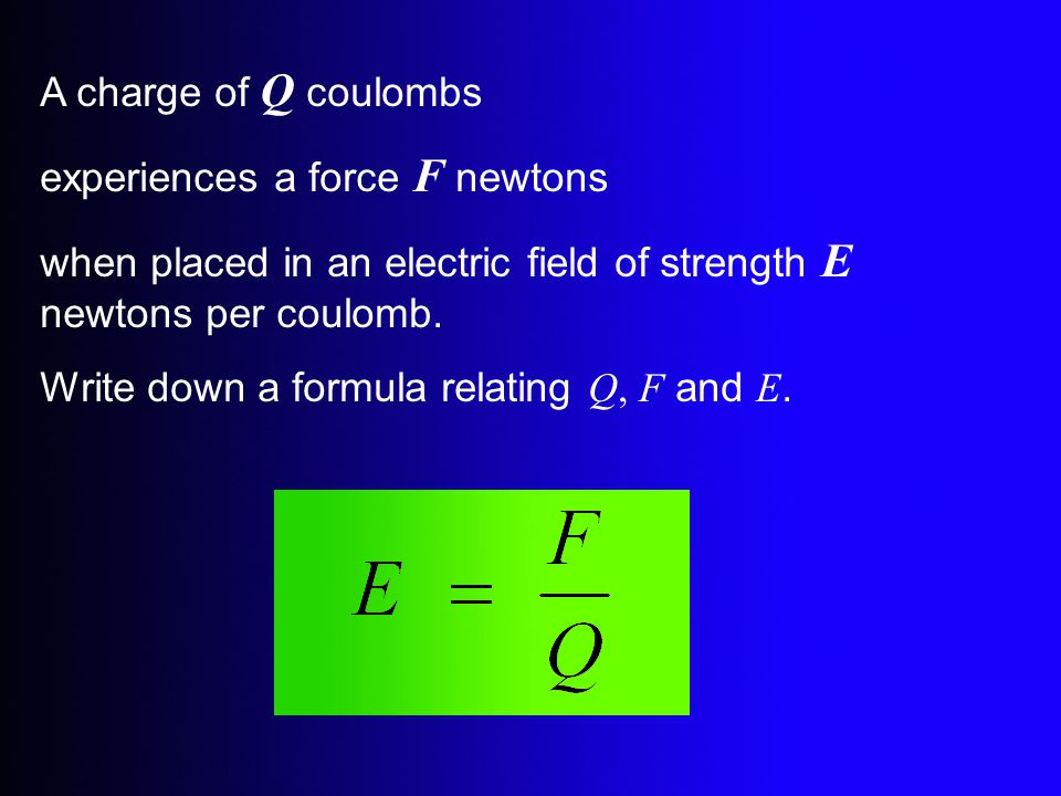 A charge of Q coulombs experiences a force F newtons. when placed in an electric field of strength E newtons per coulomb.