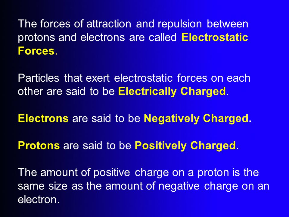 The forces of attraction and repulsion between protons and electrons are called Electrostatic Forces.