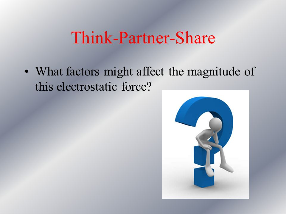 Think-Partner-Share What factors might affect the magnitude of this electrostatic force