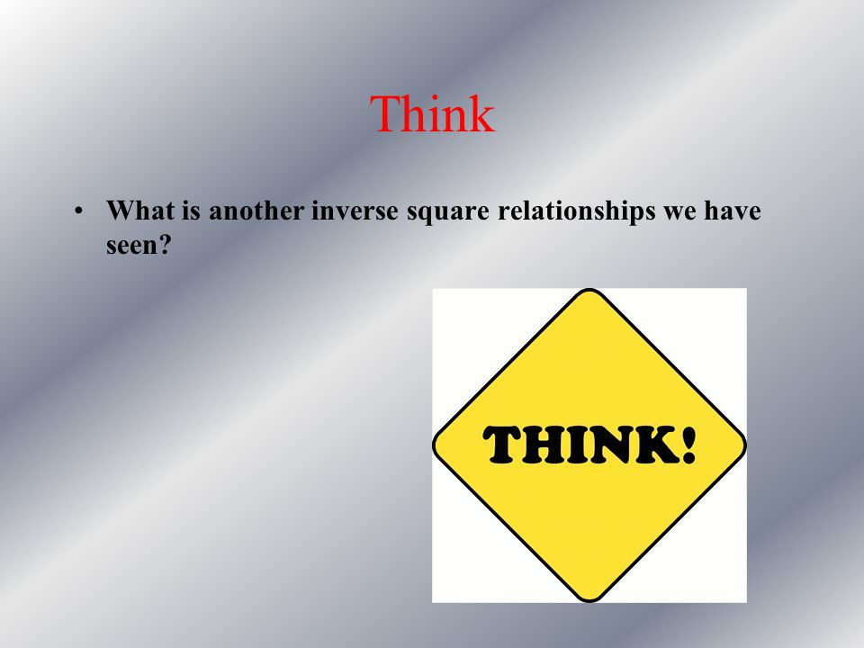 Think What is another inverse square relationships we have seen