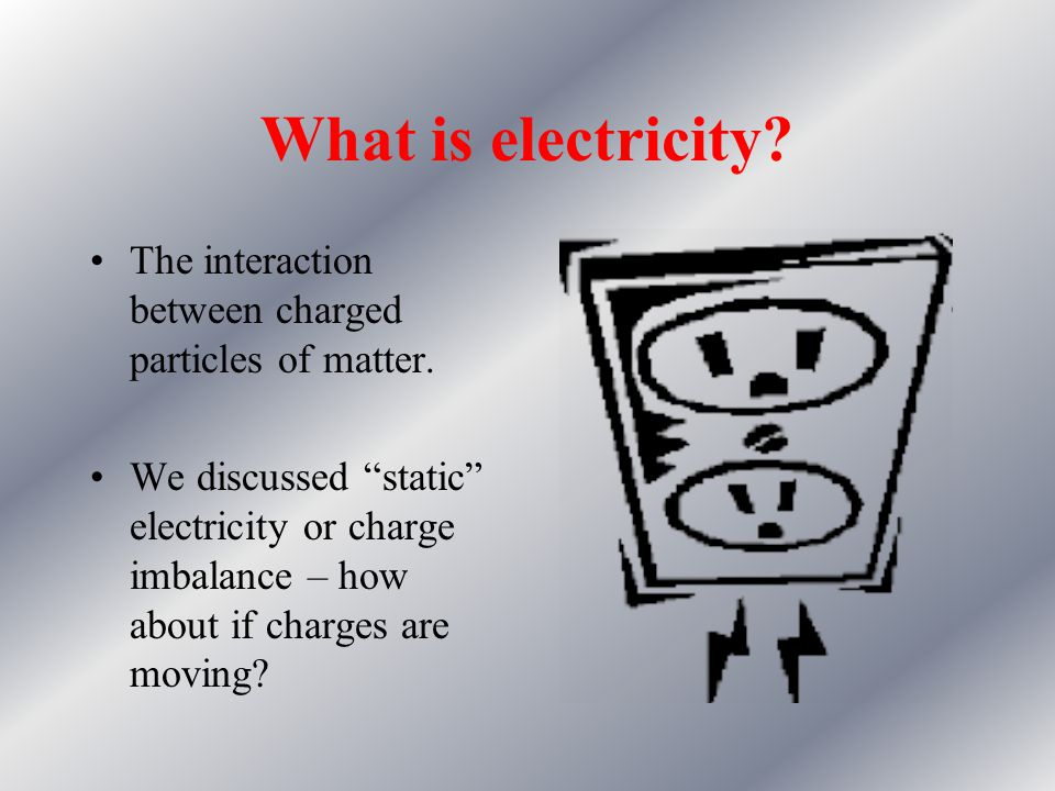 What is electricity The interaction between charged particles of matter.