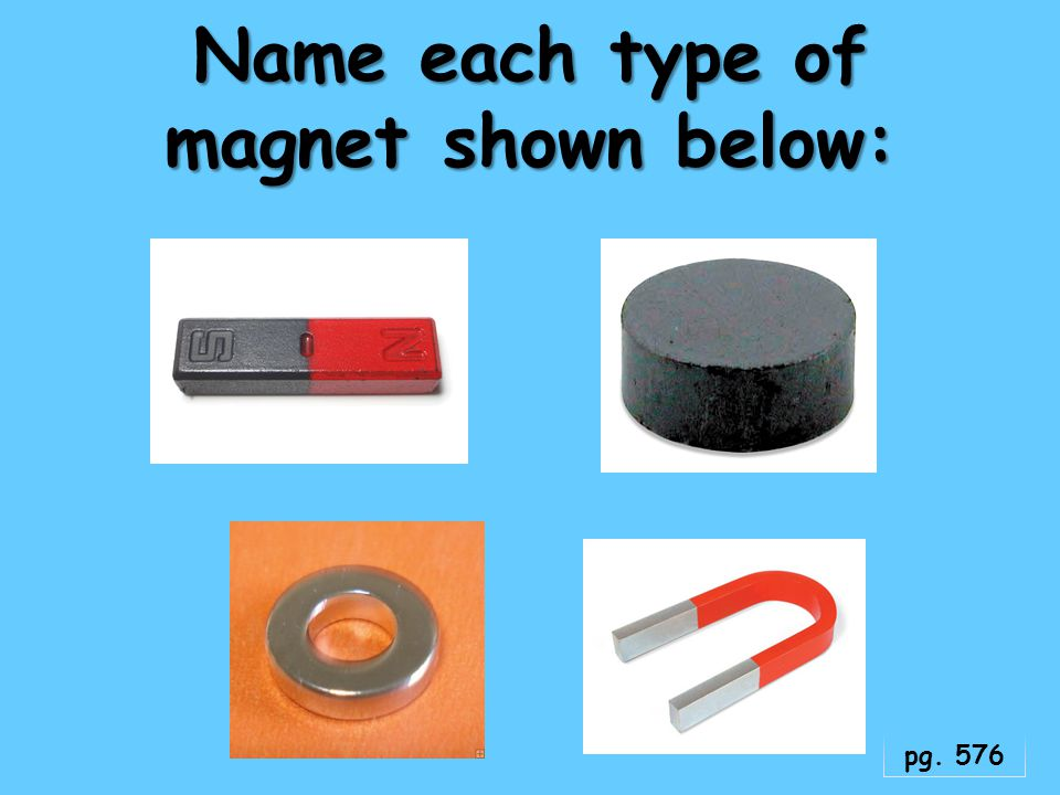 Name each type of magnet shown below: