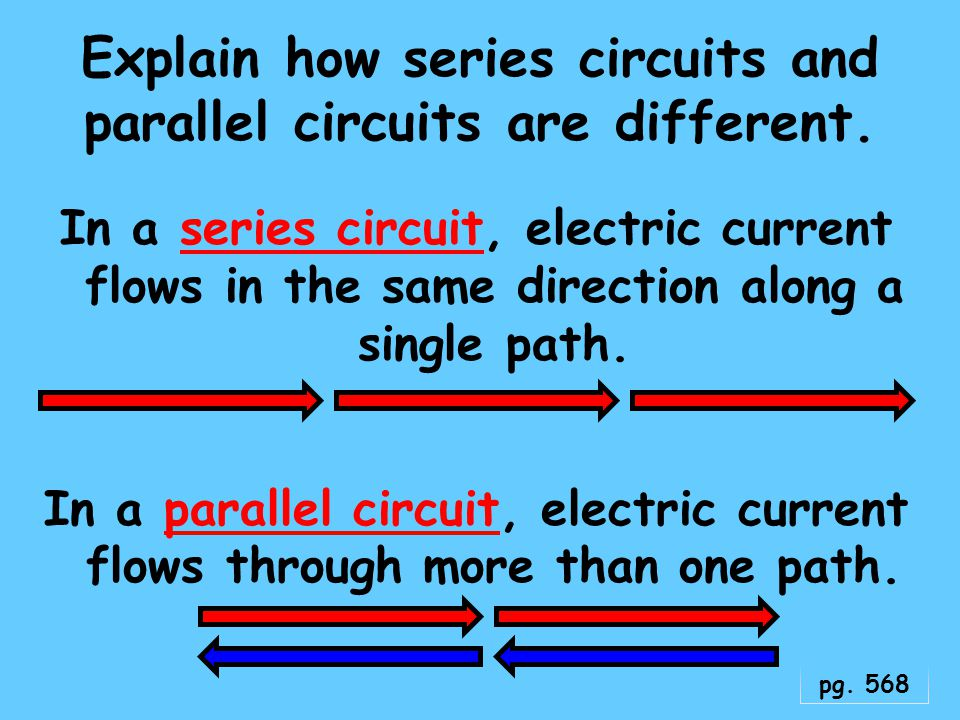 Explain how series circuits and parallel circuits are different.
