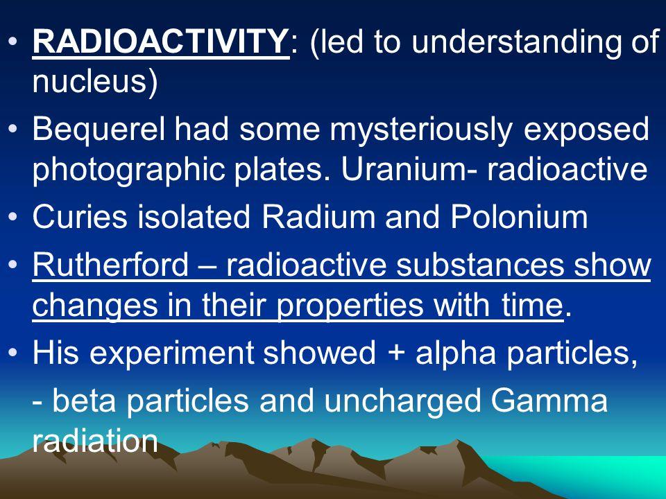 RADIOACTIVITY: (led to understanding of nucleus)