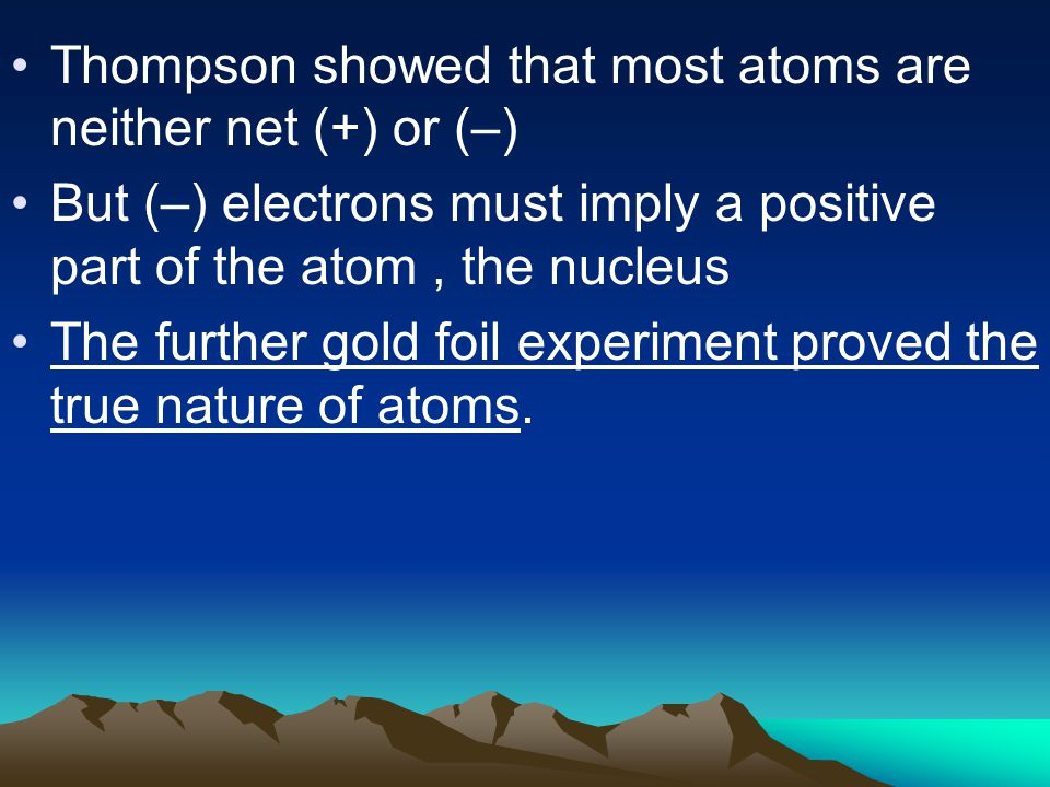 Thompson showed that most atoms are neither net (+) or (–)