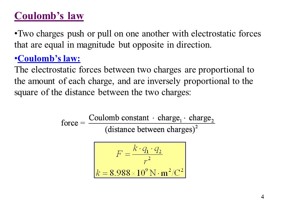 Coulomb's law Two charges push or pull on one another with electrostatic forces that are equal in magnitude but opposite in direction.