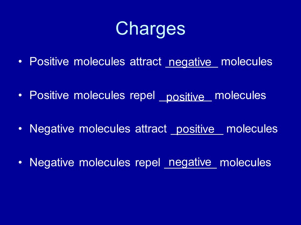 Charges Positive molecules attract ________ molecules negative