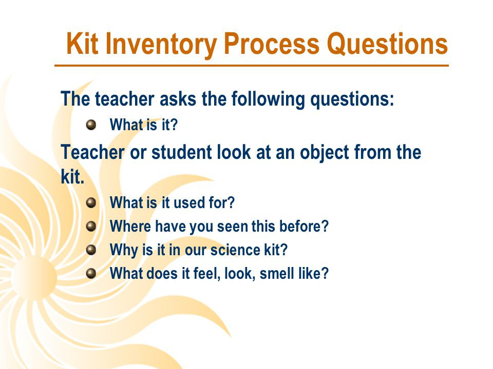 Kit Inventory Process Questions