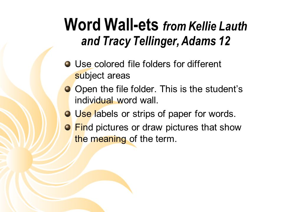 Word Wall-ets from Kellie Lauth and Tracy Tellinger, Adams 12