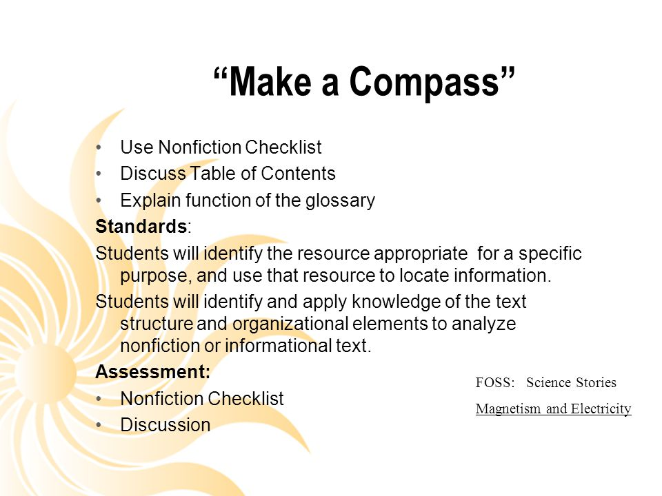 Make a Compass Use Nonfiction Checklist Discuss Table of Contents