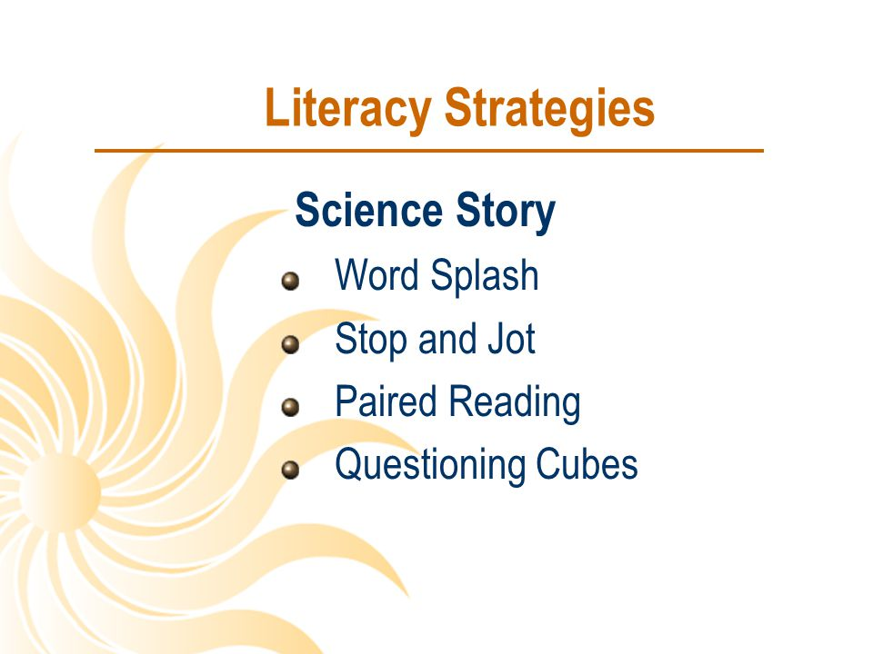 Literacy Strategies Science Story Word Splash Stop and Jot