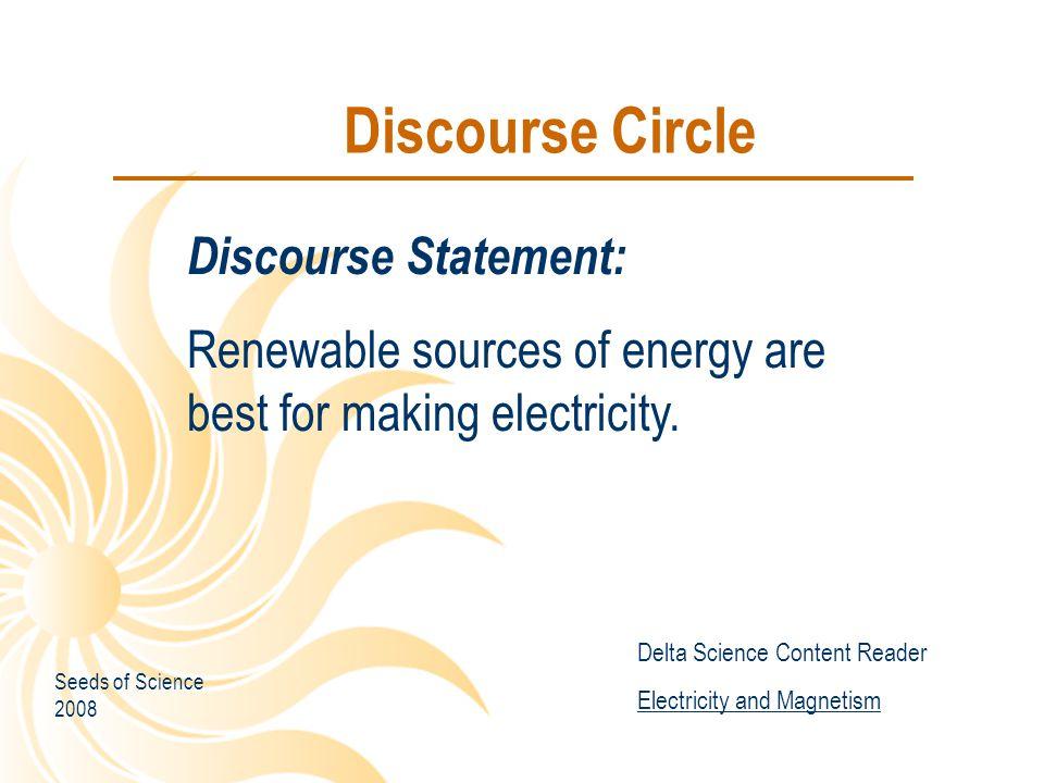 Discourse Circle Discourse Statement: