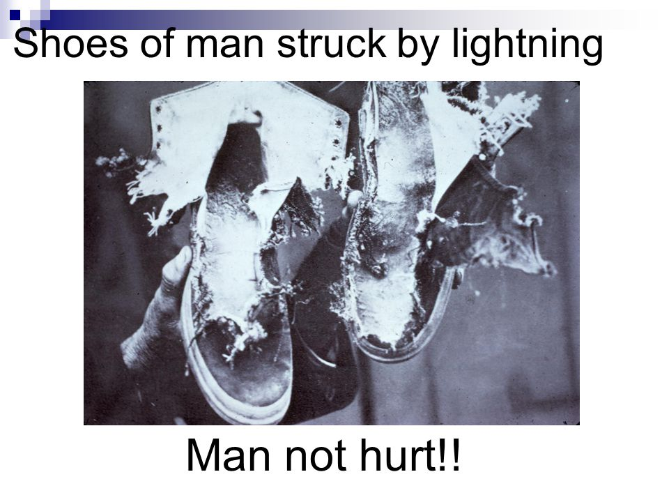 Shoes of man struck by lightning