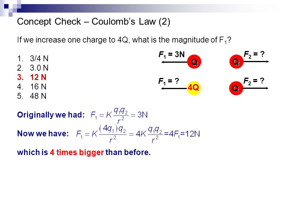 Concept Check – Coulomb's Law (2)
