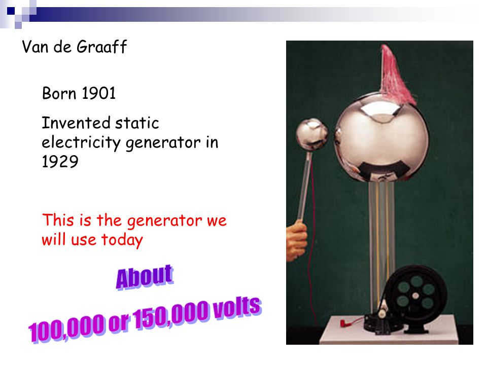 About 100,000 or 150,000 volts Van de Graaff Born 1901