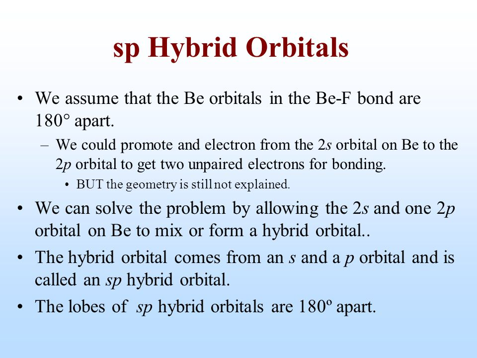 sp Hybrid Orbitals We assume that the Be orbitals in the Be-F bond are 180 apart.