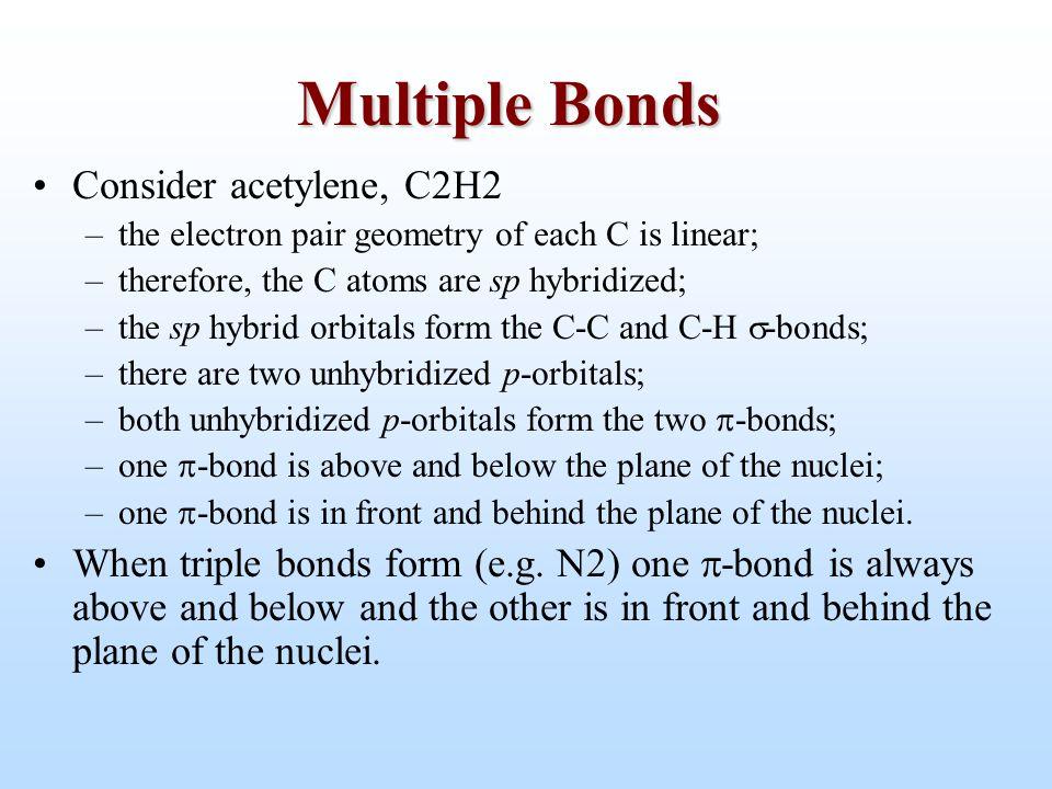Multiple Bonds Consider acetylene, C2H2