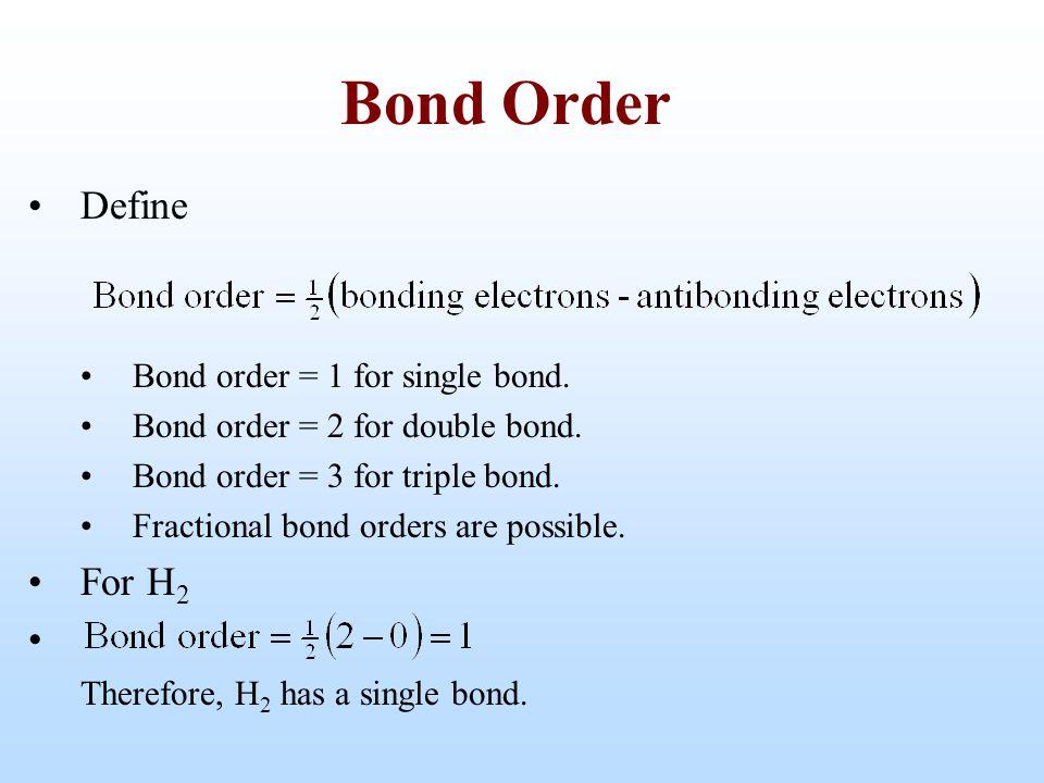 Bond Order Define For H2 Bond order = 1 for single bond.