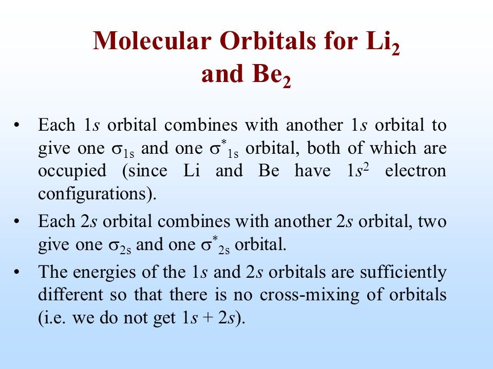 Molecular Orbitals for Li2 and Be2