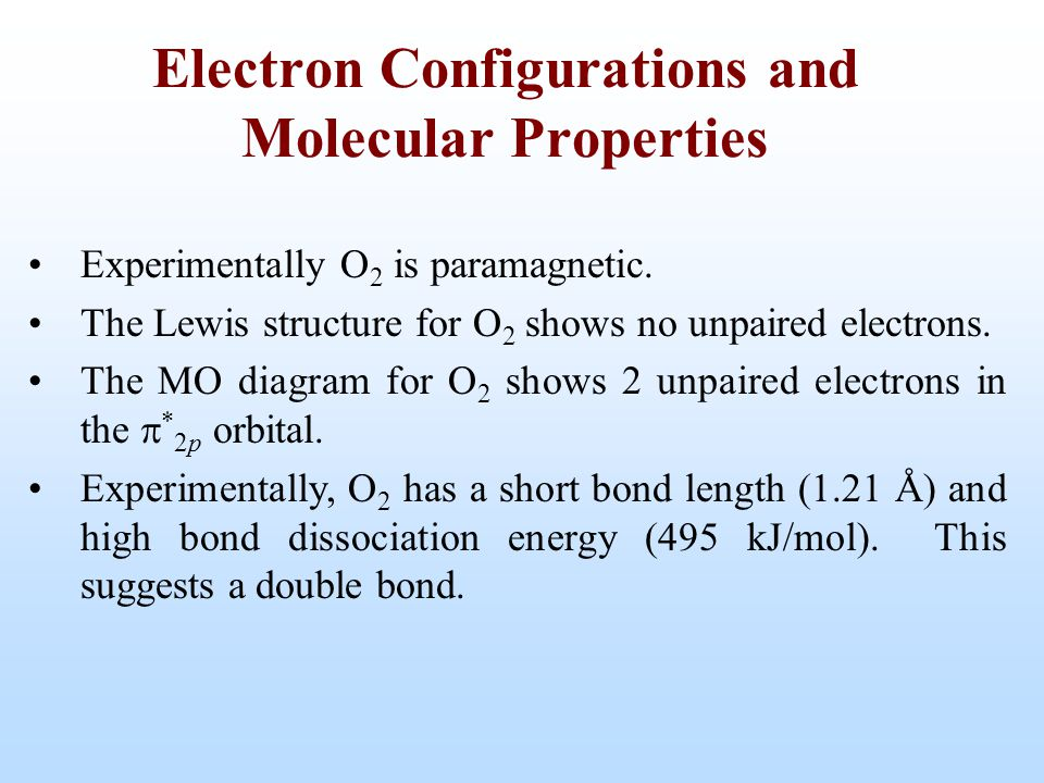 Electron Configurations and Molecular Properties