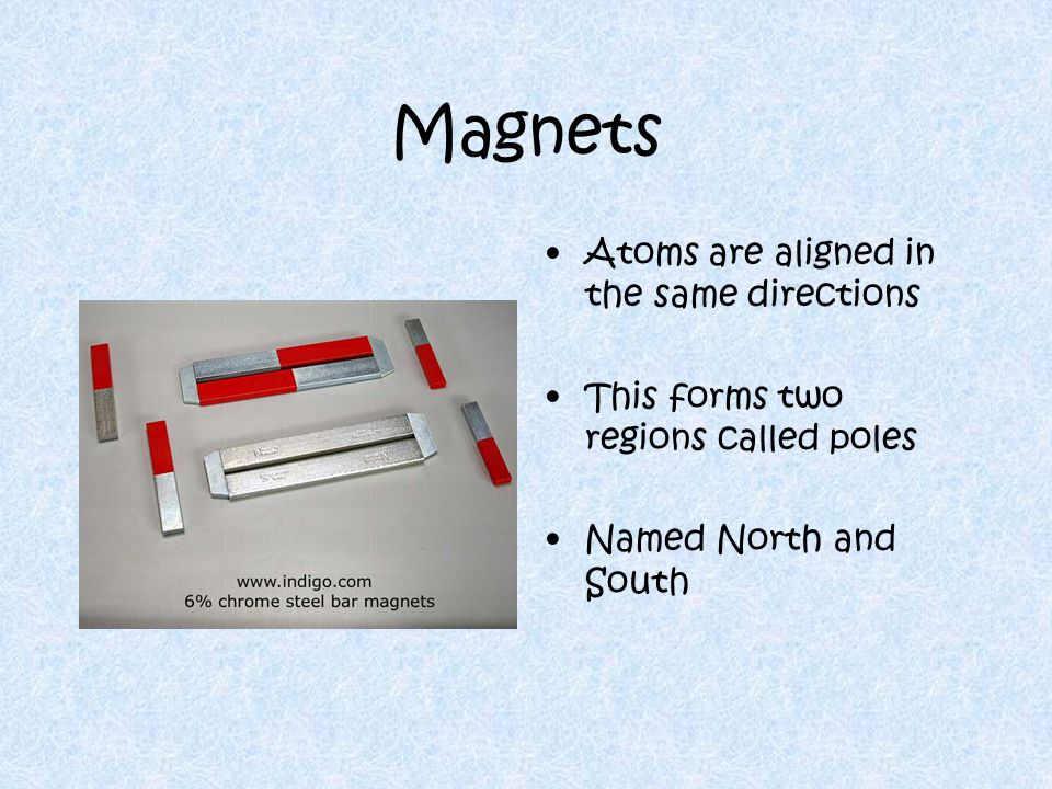 Magnets Atoms are aligned in the same directions