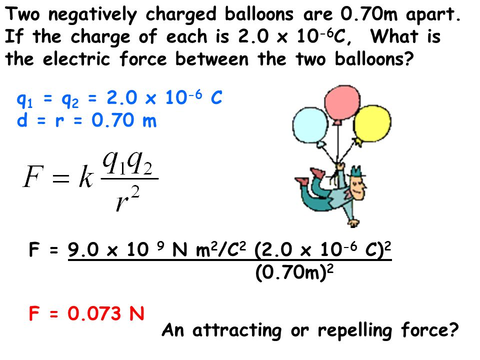 Two negatively charged balloons are 0.70m apart.