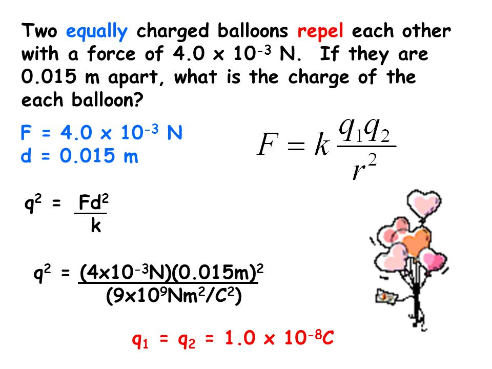 Two equally charged balloons repel each other with a force of 4