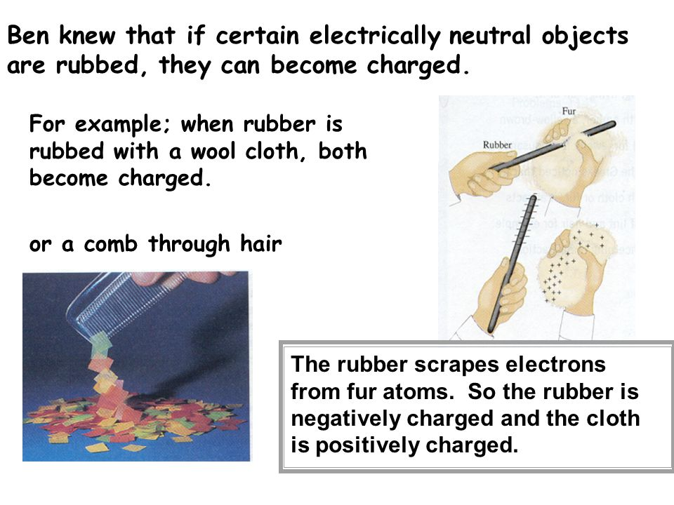 Ben knew that if certain electrically neutral objects are rubbed, they can become charged.
