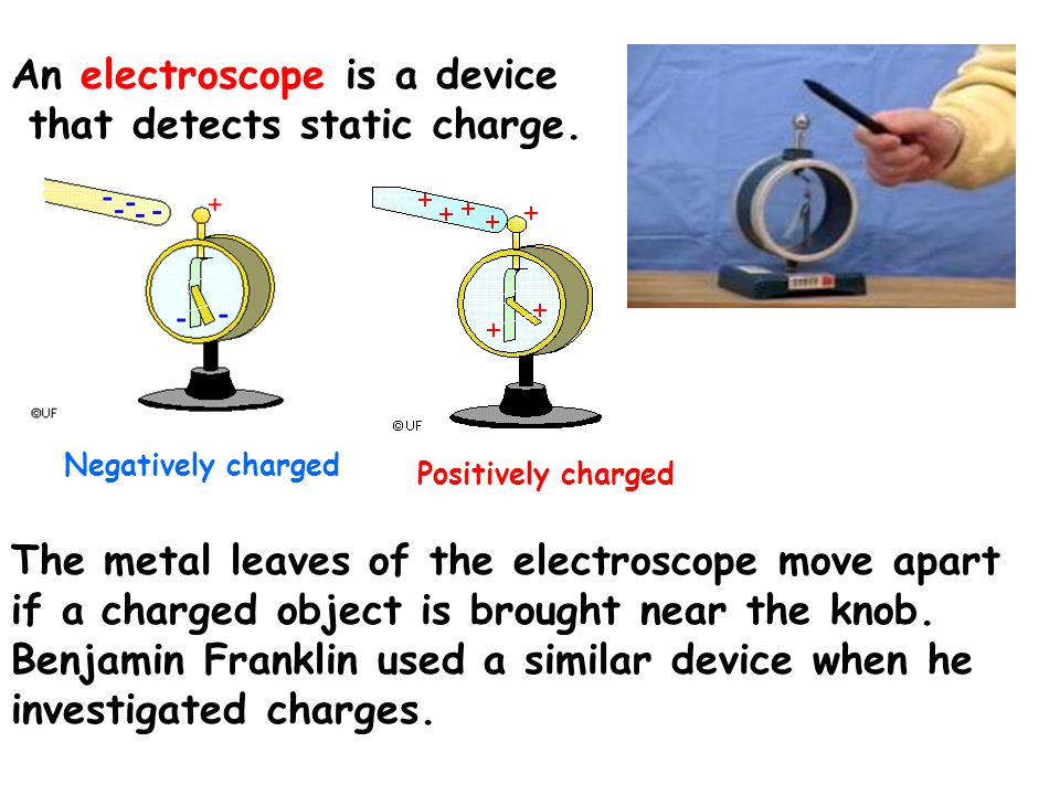 An electroscope is a device that detects static charge.
