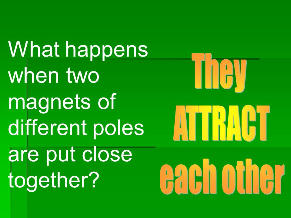 What happens when two magnets of different poles are put close together